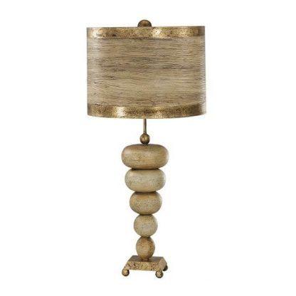 Lampa z postawą z kul z brązowym abażurem do sypialni