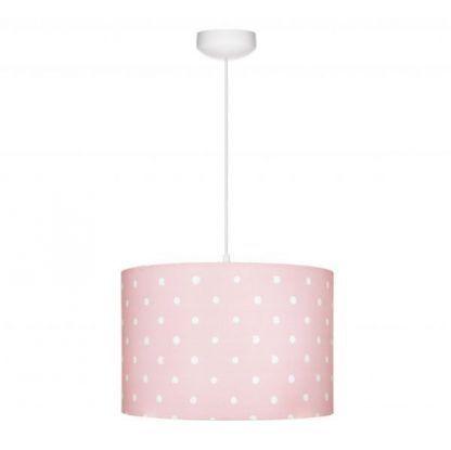 Lampa z różowym abażurem w białe grochy