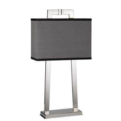 Lampa z szarym abażurem z geometryczną srebrną podstawą