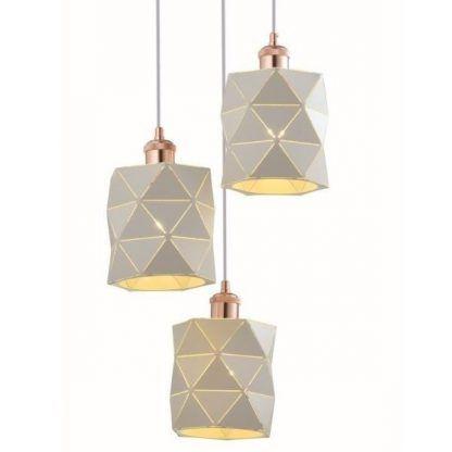 lampa z trzema geometrycznymi kloszami