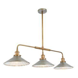 lampa z trzema płaskimi kloszami z miedzianymi rurkami