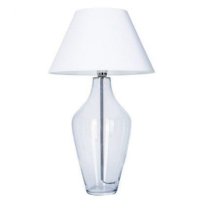 lampa z widocznym środkiem szklanym a białym kloszem