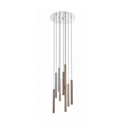 Lampa ze srebrno złotymi kloszami w kształcie tub salon