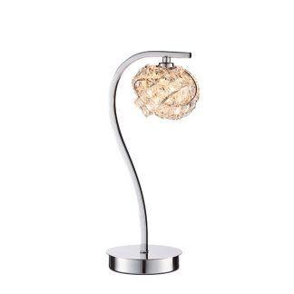 Lampa ze srebrnym wykończeniem i kloszem z kryształków