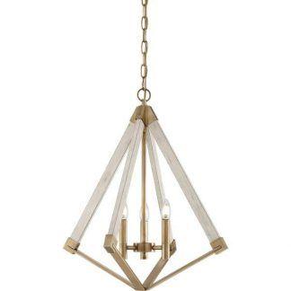 Lampa ze świecznikami do salonu z drewnianym wykończeniem