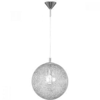 Lampa ze szklanym kloszem ze srebrnymi detalami
