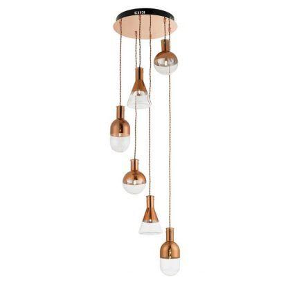 Lampa ze szklanymi kloszami na miedzianej podstawie