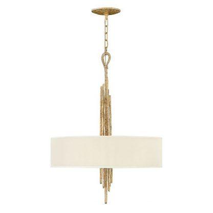 Lampa ze złota podstawą i beżowym abażurem do salonu