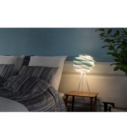 lampka stołowa biała do sypialni z turkusowym kloszem