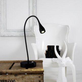 lampka stołowa czarna cała - nowoczesna skandynawska - aranżacja