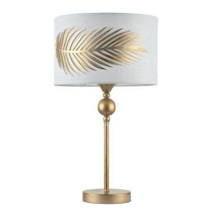 lampka stołowa z ozdobnym abażurem złoto