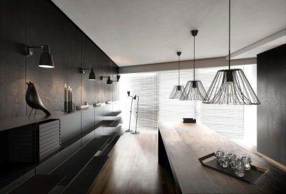 lampy druciane ażurowe do kuchni nad blat drewniany