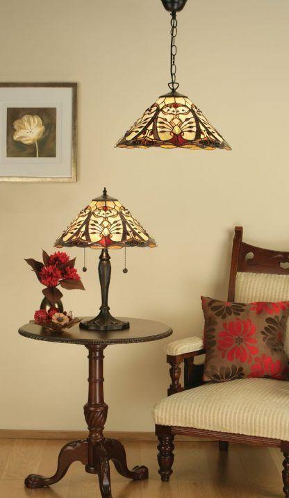 lampy witrażowe do kremowego salonu klasyczny