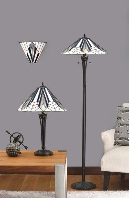 lampy witrażowe do szarego salonu zestaw