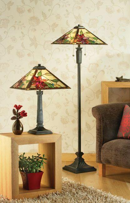 lampy witrażowe w czerwone kwiaty do salonu zestaw