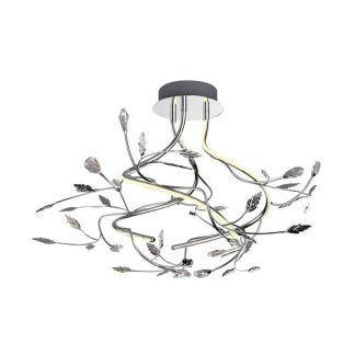ledowa lampa sufitowa z małymi listkami