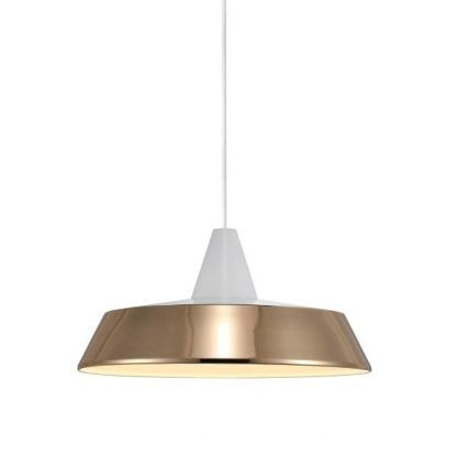 lekko miedziana połyskująca nowoczesna lampa nad stół