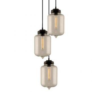 loftowa lampa wisząca do salonu szklane klosze