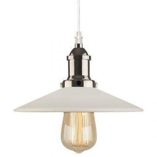 loftowa lampa wisząca z białym kloszem srebrna