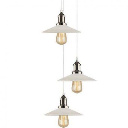 loftowa lampa wisząca z białymi kloszami