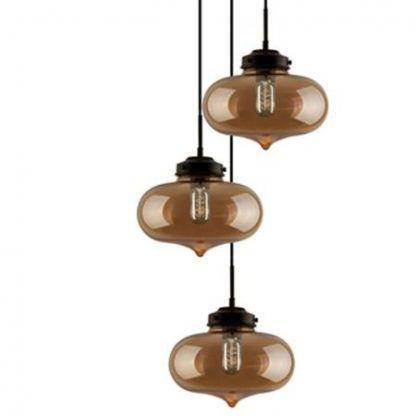 loftowa lampa wisząca z kolorowymi kloszami ze szkła