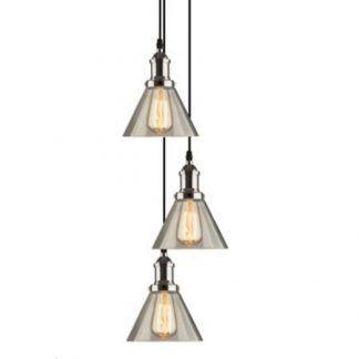 loftowa lampa wisząca ze szklanymi kloszami