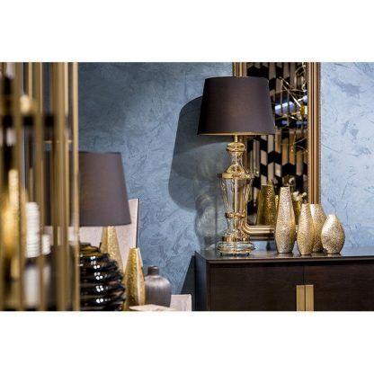 luksusowa wysoka lampa stołowa z czarnym abażurem