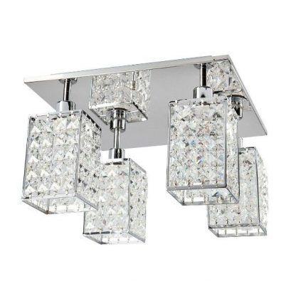 Lustrzana podstawa lampy z kryształowymi ozdobami