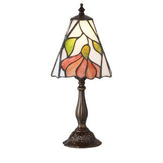 mała lampa stołowa z witrażowym kloszem w kwiaty