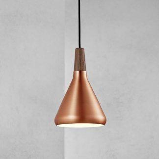 mała lampa wisząca do tynku dekoracyjnego - miedź