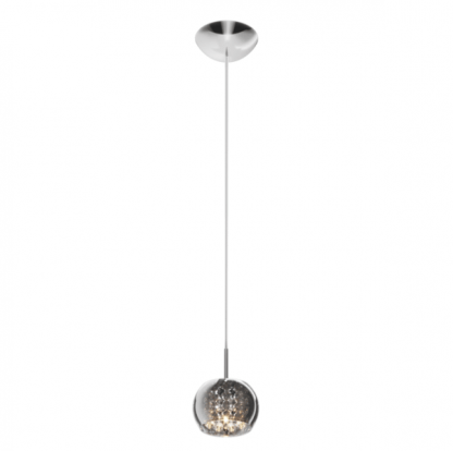 mała lampa wisząca z sznurkami kryształowymi