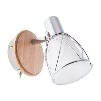 mały kinkiet ze szklanym kloszem drewniana podstawa