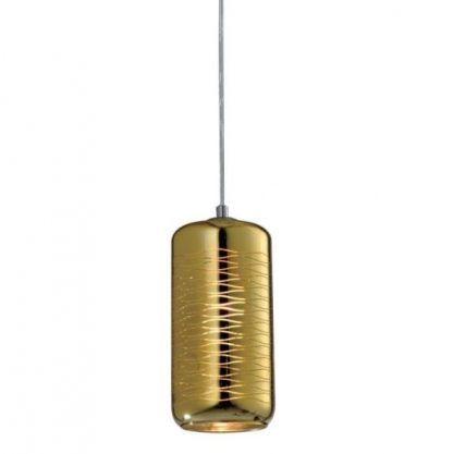 lampa z podłużnym złotym kloszem