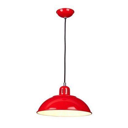 Metalowa czerwona lampa wisząca do kuchni