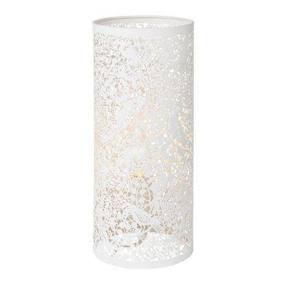 metalowa lampa stołowa białe kwiaty ażurowa