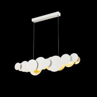 Metalowa lampa wisząca do salonu biało złota
