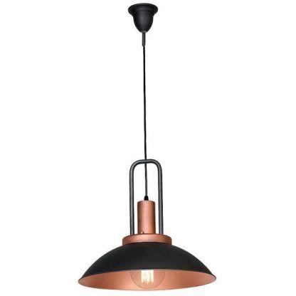 Metalowa lampa wisząca do salonu czerń i miedź