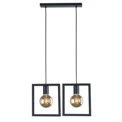 metalowa lampa wisząca druciane klosze kwadraty
