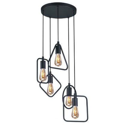 metalowa lampa wisząca geometryczne formy czarna