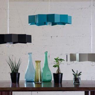 metalowa lampa wisząca geometryczny klosz