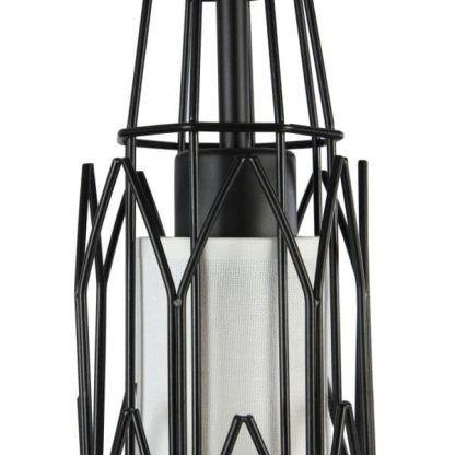 metalowa lampa wisząca z abażurem w środku