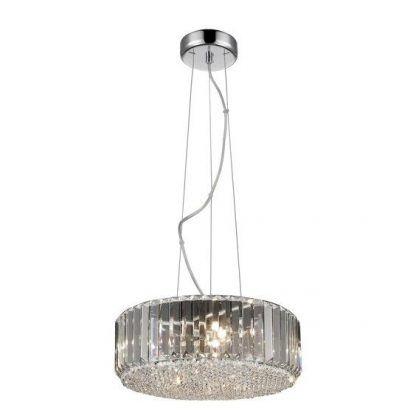 Metalowa lampa wisząca z kryształowymi elementami