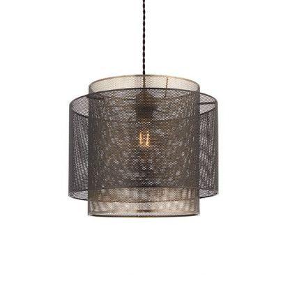 metalowa lampa wisząca z siatki do salonu