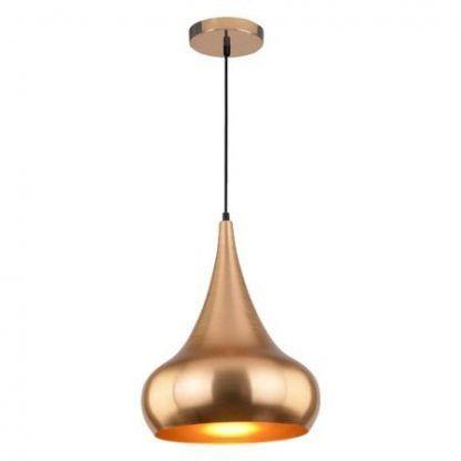 metalowa lampa wisząca złoty klosz