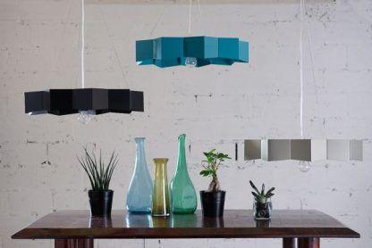 metalowe lampy wiszące nad stół cienki klosz