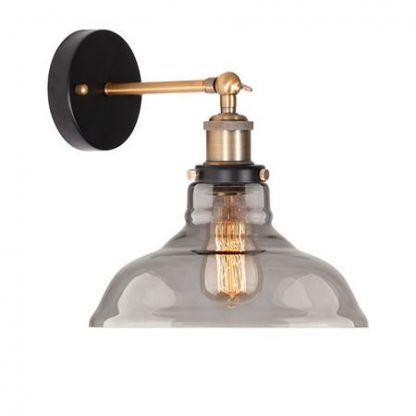 metalowy kinkiet ze szklanym kloszem industrialny