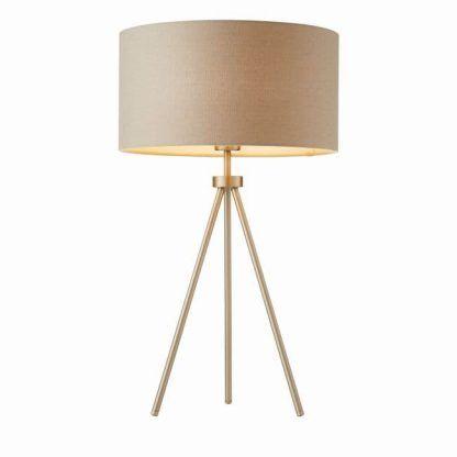metalowy trójnóg lampa stołowa jasny abażur