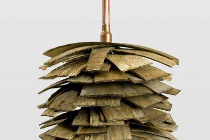 miedź połączona z drewnem - lampy
