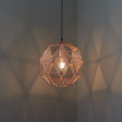 miedziana druciana lampa wisząca do salonu