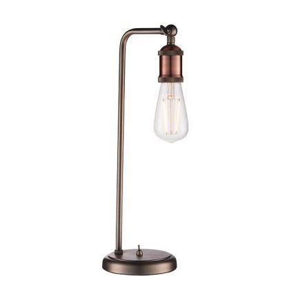 miedziana industrialna lampa stołowa bez klosza
